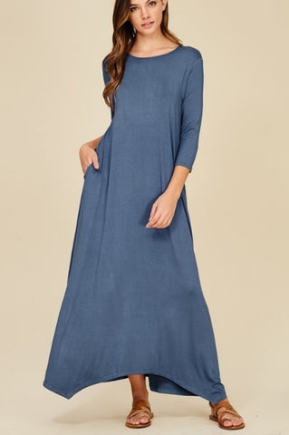Alexa Maxi Dress in Denim (S-L)