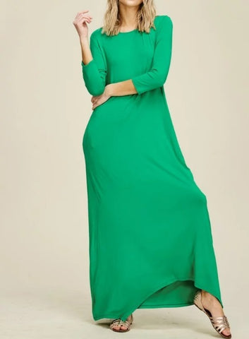 Alexa Maxi Dress in Kelly Green (XL-3X)