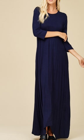 Alexa Maxi Dress in Navy (XL-3X)