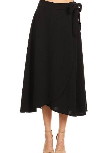 Evie Faux Wrap Skirt in Black (S-M-L)