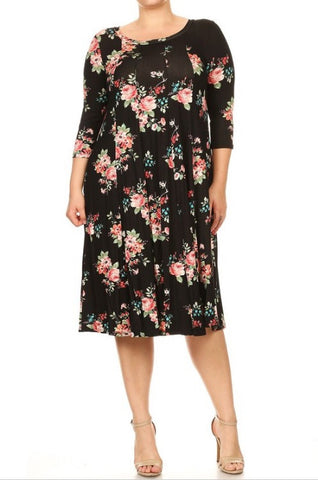 Midi Dress in Black Floral {XL-3X}