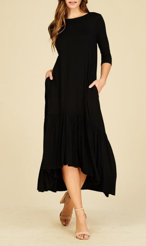 Harper Ruffle Hem Dress in Black (S-3X)