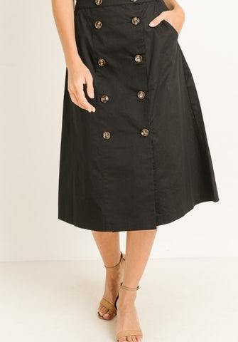A-Line Button Down Skirt - Black (S-L)