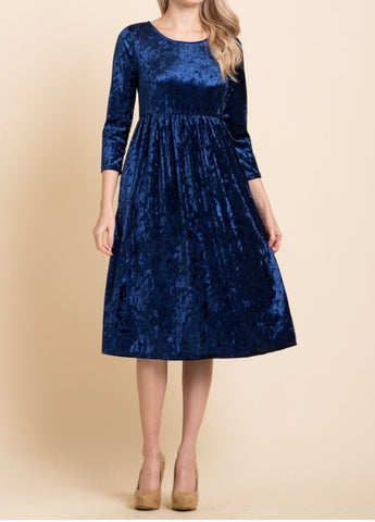 Crush Velvet Dress ~ Blue