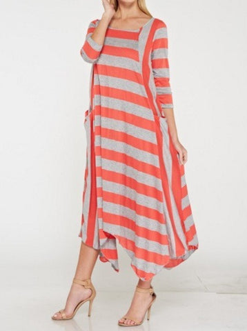 Julia Stripe Dress in Coral {S-3X}