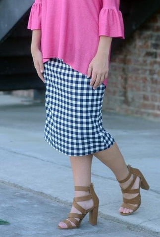 Essential Navy Gingham Skirt