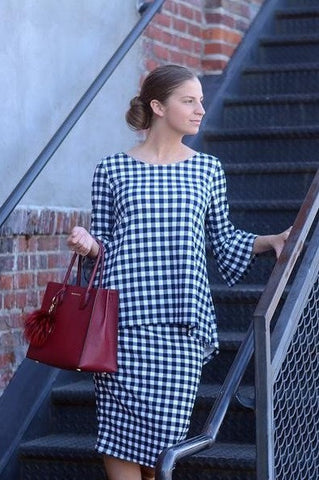 Navy Gingham Tunic