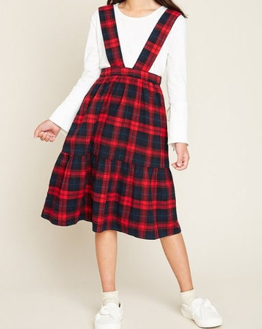 Girls Plaid Overall Dress (7/8-13/14)
