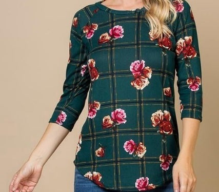 Casual Floral Plaid Top (S-3XL)