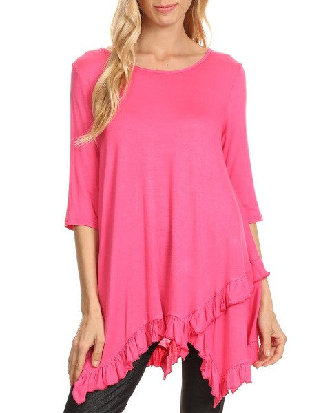 Layla Ruffle Trim Top in Hot Pink {S-2X}