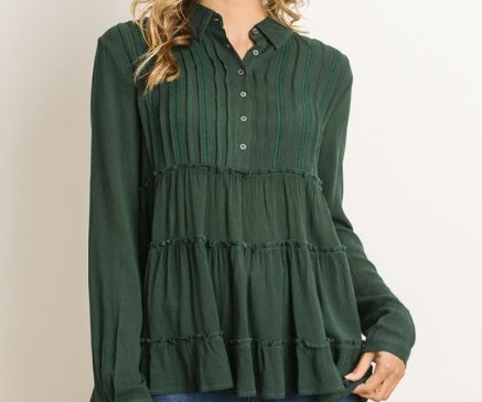 Babydoll Top in Hunter Green