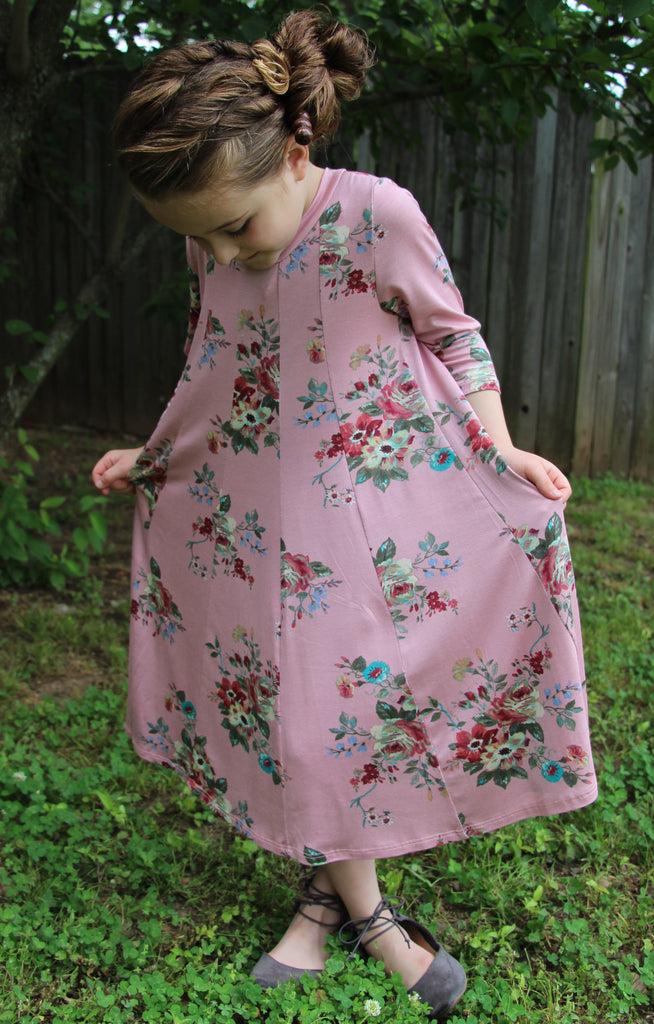 Claire Floral Dress in Pink