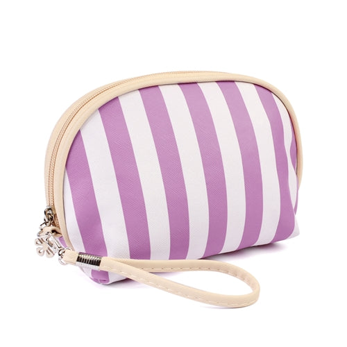 Striped Cosmetic Bag in Lavender
