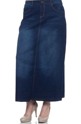 Denim Skirt ~ Long {XS-3X}