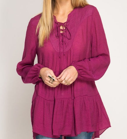 Babydoll Top in Magenta