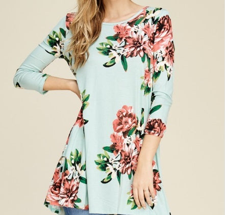Floral Hi-Low Tunic in Mint (S-XL)