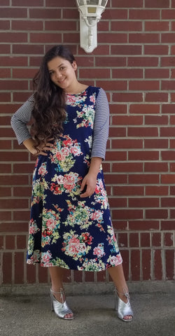 Abigail Dress in Navy {S-3X}