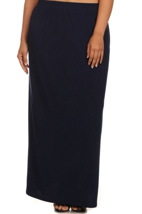 Solid Long Navy Skirt (S-3X)