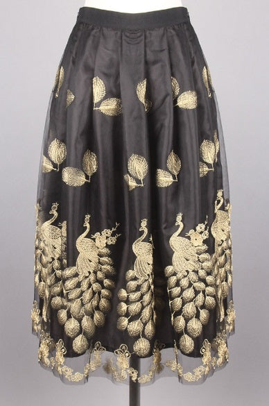 Pleated Peacock Skirt