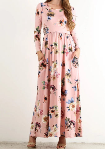 Floral Maxi with Pockets in PINK