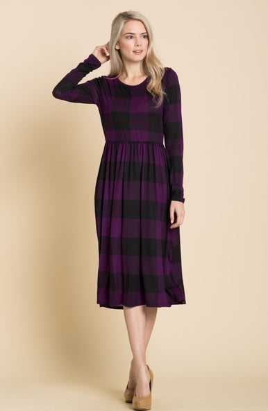 Plaid Fit & Flare Midi Dress in Plum