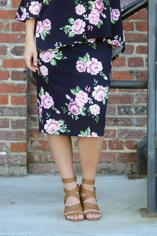 Essential Navy Floral Skirt