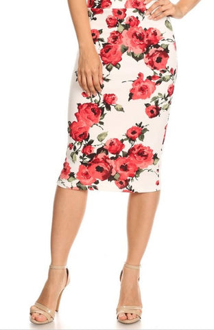 Red Floral Skirt - Juniors