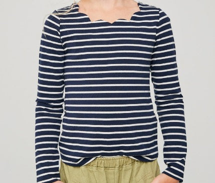 Girls Scalloped Top - Navy (7/8-13/14)
