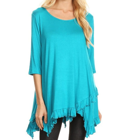 Layla Ruffle Trim Top in Dark Teal {S-2X}