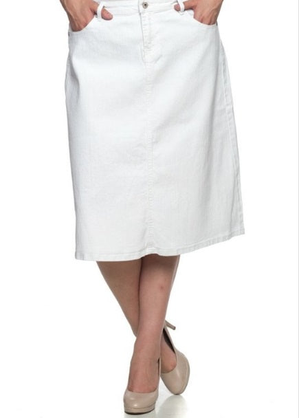 White Denim Skirt (XL-3XL)