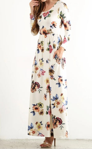 Floral Maxi with Pockets in White