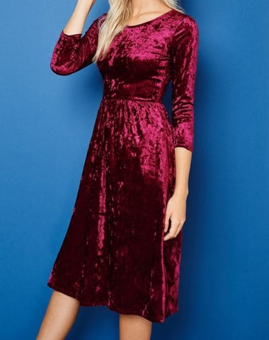 Crush Velvet Dress ~ Wine