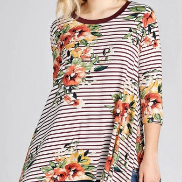 Floral Stripe Tunic in Wine (S-3X)