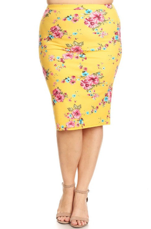 Yellow Floral Skirt {LG-2X}