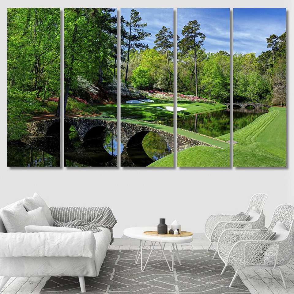 Augusta Masters Golf Golfing Course Hole Water - Nature Canvas Art Wall Decor