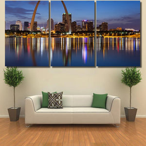 City Of St Louis Skyline Gateway Arch At Twilight - Landscape Canvas Art Wall Decor