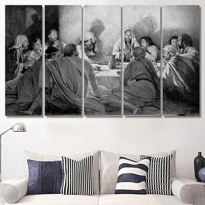 Last Supper Jesus Black And White - Religion Canvas Art Wall Decor