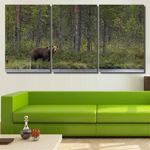 Wild Brown Bear Ursus Arctos Twilight - Bear Animals Canvas Art Wall Decor