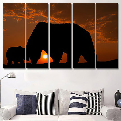 Wonderful Detail Nature Silhouette Small Big - Bear Animals Canvas Art Wall Decor