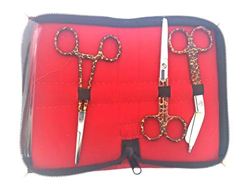 Set of Three: Bandage Scissors, Nurses Scissors + Forceps in Leopard Design