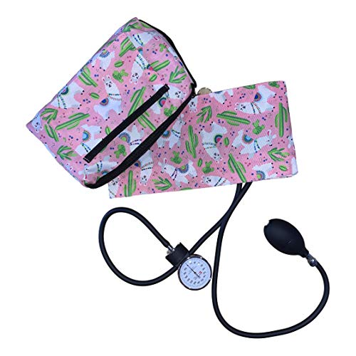 Pink Llama Aneroid Sphygmomanometer with Compact Carry Case for Nursing or Medical Equipment for Nurse, Midwife and Healthcare Professional