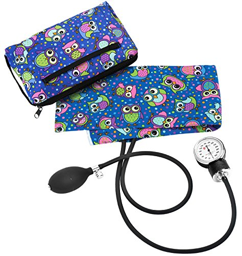 Blue Bright Owl Aneroid Sphygmomanometer with Compact Carry Case for Nursing or Medical Equipment for Nurse, Midwife and Healthcare Professional