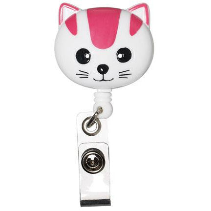 Retractable ID Lanyard Clip - White/Pink Cat