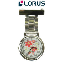 Lorus Nurses Fob Watch with a flower on the dial (RG237HX9)