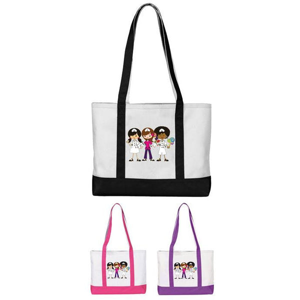 Three Cartoon Nurses Tote Bag