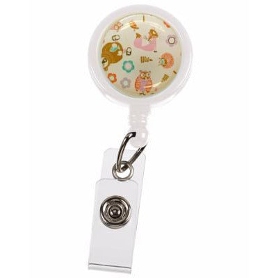 Lanyard Clip - Woodland Animals Cream