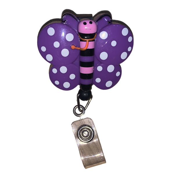 Purple Butterfly Retractable Pulley ID Reel