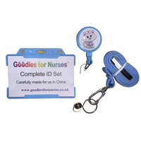 ID Set with Nurse Kitty Logo in Light Blue