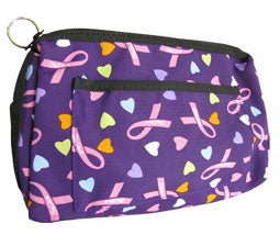 Hearts & Ribbons Purple Compact Medical Carry Case Organiser