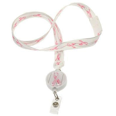 Lanyard - White + Pink Ribbons